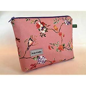 Kosmetiktasche Tori Schminktasche Kulturtasche aus japanischen Designerstoff mit Vögelchen und Blumen. Innen mit abwaschbaren Wachstuch Handmade