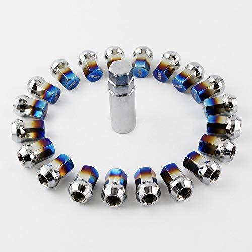 D28JD M12*1.5 20 Stück/Set Universal-Radmutter blau gebrannt, Radmutter Edelstahl + Diebstahlsicherung blau gebrannt