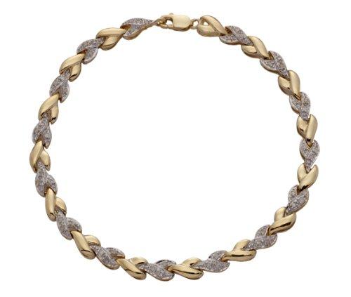 Braccialetto in oro 9 kt, bicolore, in