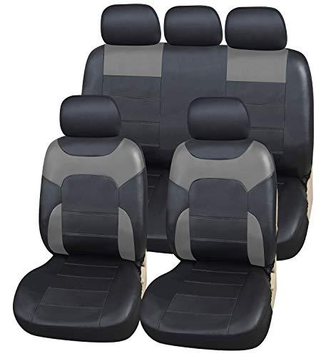 Coprisedili Ecopelle per Auto Universali Nero & Grigio | Foderine Sedili Simil-pelle per Anteriori e Posteriori | Copri-Sedile Universale | Accessori Automobile Interni | Set Completo di 9