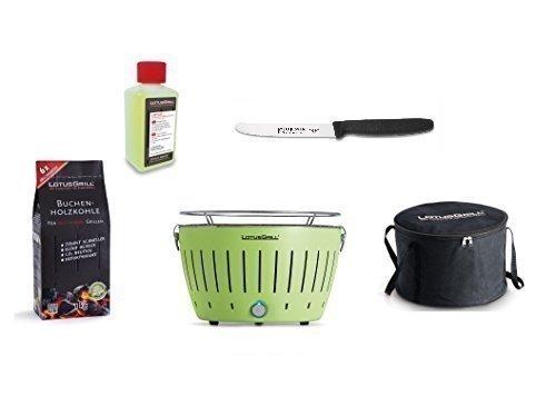 LotusGrill Barbecue Kit de démarrage 1x Lotus Barbecue charbon de bois de hêtre Vert citron 1x 1kg, 1x Pâte combustible 200ml, 1couteau Giesser 11cm avec lame crantée, 1x sac de transport