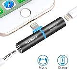 MixMart Adaptateur Splitter Jack 2 en 1 Audio + Charge 3,5mm Casque Audio Splitter et Adaptateur de Chargement pour Téléphone Portable Smartphone Tablette etc.