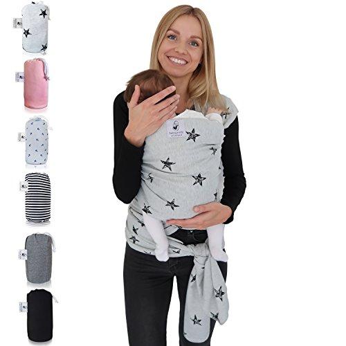 Fastique Kids® Babytragetuch - elastisches Tragetuch für Früh- und Neugeborene Kleinkinder - inkl. Baby Wrap Carrier Anleitung (Sternchen)
