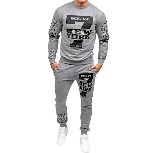 Luckycat Herren Herbst Winter gedruckt Sweatshirt Top Hosen Sets Sport Anzug Trainingsanzug Mode 2018