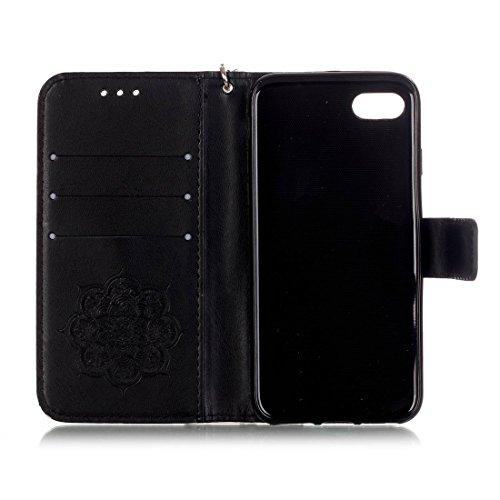 iPhone 7 Coque, Rose Cuir iPhone 7 Etui Rabat Style Prime Portefeuille Case Housse Protection Avec Carte Slots pour Apple iPhone 7 4.7 inch Avec Windbell Embossage Motif noir