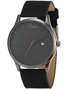 EASTPOLE Herren Armbanduhr Quarzuhr mit Datumsanzeige Schwarz Lederband WAA945