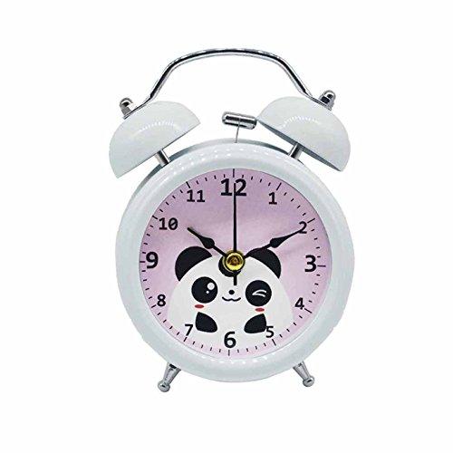 La Haute Wecker, Holz, zwei Glocken, geräuschlos (tickt nicht), für Schreibtisch, Reisen, Uhr mit Nachtlicht White Panda