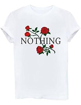 Yeesea Donna Estate Maglietta Manica corta Stampare Cotone Camicetta T-shirt