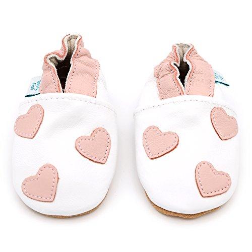 Weiche Baby und Kleinkind Lederschuhe - Dotty Fish - Mädchen - Herzen Weiß und rosa Herz