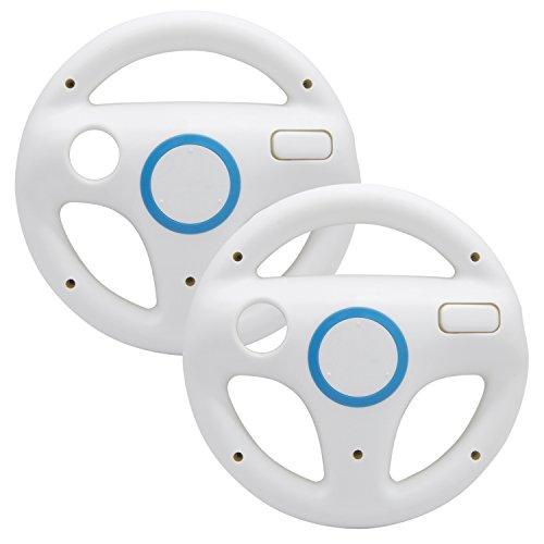AZFUNN Mario Kart Lenkräder, 2 weiße Rennräder mit Wii Rad, Wii Mario Kart Game Fernbedienung, Zubehör Driving Wheel für Mario Kart , Panzer, mehr Wii U oder Wii Spiele