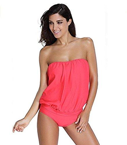 Babolala Women's Two Pieces Swimsuit Beach Bra Ladies Sexy Vintage Bikini Split Swimwear Tops Red L (Bra Elle Floral)