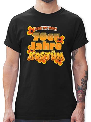 Karneval & Fasching - Das ist Mein 70er Jahre Kostüm - XL - Schwarz - L190 - Herren T-Shirt und Männer Tshirt (Lustige Kostüm Schwarz)