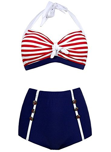 Futurino Damen Frühjahr/Sommer Vintage Retro Nautical Sailor Bügel Bikini Sets Bademode US10 OneColor