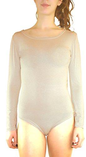 Body Damen Shirt Bodysuit Ärmellos Stretch Rundhalsausschnitt Träger Top Größe S /M / L / XL Hell Hautfarbe
