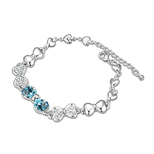 Beydodo Weiße Vergoldet Damen Armband (Gliederarmband),Österreich Kristall Bowknot Meeresblau CZ Zirconia 16CM