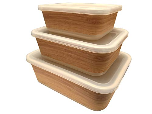 FIBERBAMBOO Conjunto 3 Tupper de bambú. Apto para lavavajillas. Material ecológico sin BPA, Ideal para bebé e Infantil, Color Madera Robusto y Ligero, un Buen Regalo para Novios de Boba