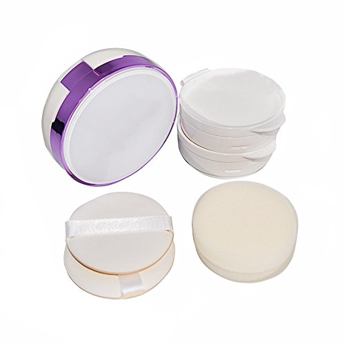 Violet 15 ml vide rechargeable circulaire houppette Coussin portable Magic Maquillage Poudre Boîte avec coussin d'air éponge houppette et boîte de substitution pour BB CC Crème teint liquide