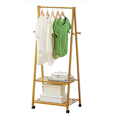 MEI XU- Holzgarderobe, Holzgestell, Wäscheständer mit 4 Seitenhaken 2 Fachböden für...