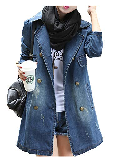 CYSTYLE Neue Damen Jeans Jacke Denim Jacke Mantel Beiläufige Outwear Jeansjacke (EU XS=Asia M)