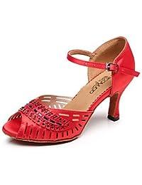 Geheimnisvolle Direct Damen Tanzschuhe Latin/Salsa Satin Absatz rot, rot, US6.5-7 / EU37 / UK4.5-5 / CN37