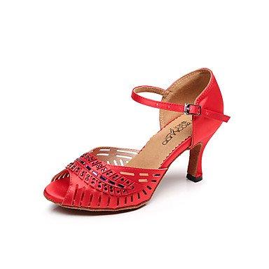 Silence @ satiné Chaussures de danse pour femme en satin Latin/Salsa Sandales Stiletto Talon Professional/intérieur noir/bleu/rouge noir