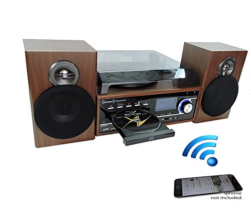 Steepletone Broadway 5 In 1 Bluetooth Music Centre With CD, FM Radio,3 Speed Record Player Has Facility To Burn Vinyl Or CD To USB