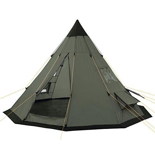 campfeuer - tenda tipi (teepee), 365 x 365 x 250 cm, verde oliva, tenda a piramide da campeggio