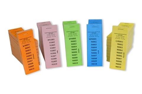 10sans perforation 1tombola Tickets numérotés 1–100000–5couleurs différentes