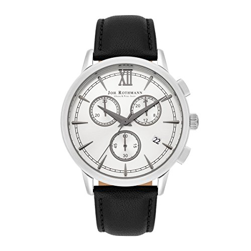 Joh. Rothmann Otto Men's Chronograph Watch Silver Bracelet in Genuine leather / real leather Black Waterproof / Water-resistant 5 ATM 10030125