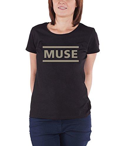 Muse T Shirt offiziell Band Logo drones damen Schwarz skinny fit (Skinny-band-t-shirts)