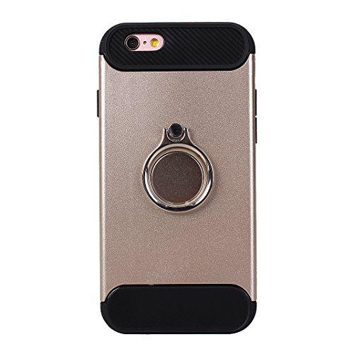 Rosa Schleife iPhone 6S/6 3 in 1 Hybrid Hülle Stoßfest Outdoor Schutzhülle mit Ring Handyhalter und Metall für Magnet KFZ Halterung Case Cover Schwarz Gold