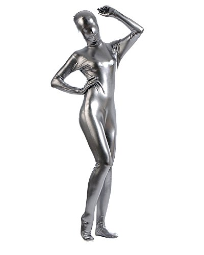 Ganzkörperanzug Kostüm Ganzkörper Anzug Suit Halloween Kostüm Silber Grau ()