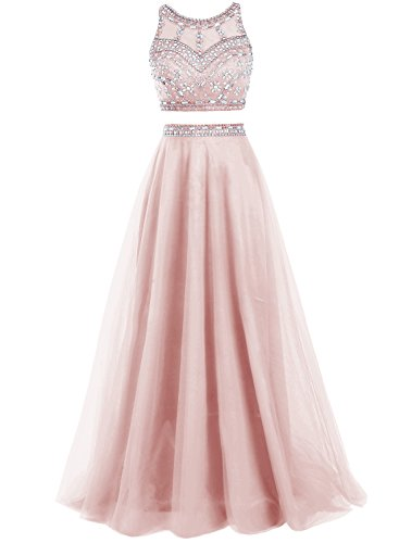 Bbonlinedress Damen zwei Teile Prom Kleid Land Tüll Party Abendkleid Blush