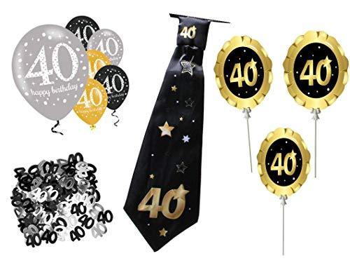 PS Geburtstags Deko 40.Geburtstag Mann 11 teilig Gold Silber schwarz mit Schlips Krawatte Luftballons Tischdeko Raumdeko Folienballon Scherzartikel