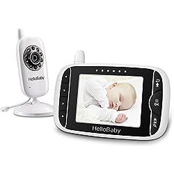 HelloBaby HB32 Moniteur Vidéo Sans fil Avec Appareil Photo Numérique, Surveillance de la Température de Vision Nocturne et Système de Communication Bidirectionnelle (Blanc)