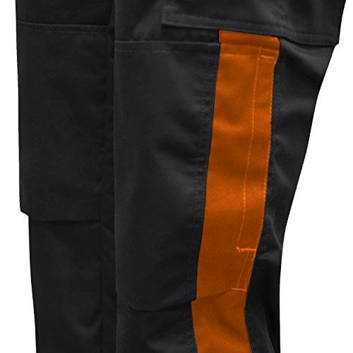 Arbeitshose Männer Berlin Pro Bundhose 280 GR. Reißverschluss YKK + Metallknopf YKK - Made in EU - Kermen - Schwarz-Orange 54 - 4