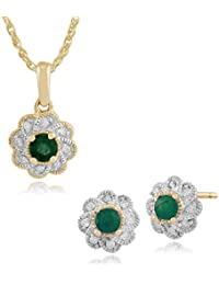 Gemondo 9ct Yellow Gold Emerald & Diamond Floral Stud Earring & 45cm Necklace Set