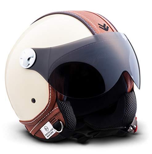 """Armor · AV-84 """"Vintage Deluxe Creme"""" (yellow) · Casque Moto Jet · Retro Scooter Demi Jet Helmet Chopper Cruiser · ECE certifié · Visor · Click-n-SecureTM Clip · Sac fourre-tout · M (57-58cm)"""