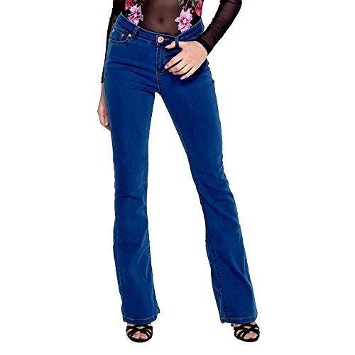 Nuovo da donna boot cut Denim Flares stile Jeans morbido sottile Smart Ladies Leggings pantaloni Blue Bootcut 38
