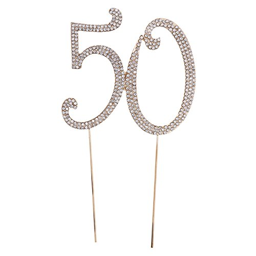 TOYMYTOY 50 Cake Topper for 50.th birthday party or anniversary Crystal Rhinestones Decorative Cake Topper for party items (gold)