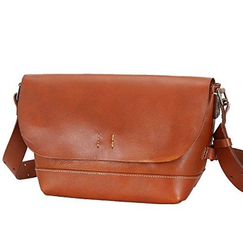Yy.f Borsa A Tracolla Vintage Moda Pelle Tendenza Spalla Diagonale (marrone E Marrone Scuro) Brown