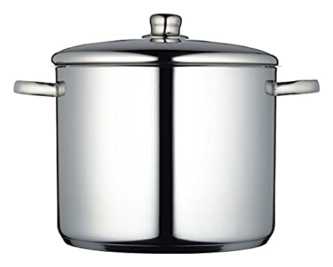 KitchenCraft MasterClass Induction-Safe Stainless Steel Large Stock Pot with Lid, Silver, 14 L (24.5