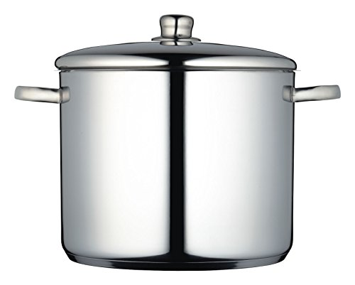 MasterClass Induction-Safe Stainless Steel Large Stock Pot with Lid, 14 Litre