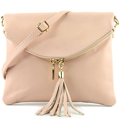 modamoda de - Made in Italy cuir petit ital. Sac en cuir d'embrayage sac d'embrayage sac à bandoulière sac Fille T139, Präzise Farbe (nur Farbe):T139A Rosabeige