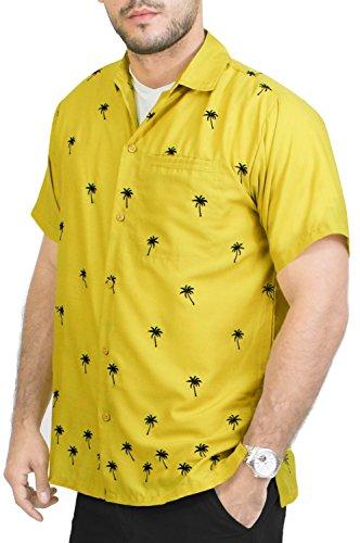 LA LEELA Strand Hawaiihemd Herren XS - 5XL Kurzarm Front-Tasche Hawaii-Print Casual Button Down Hemd Senf Olivgrün