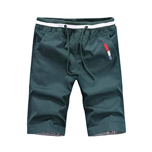 TEBAISE Herren Chino Shorts Bermuda Kurze Hose Sweatshorts Kurze Hose Jogginghose mit Stretch-Anteil Regular Fit mit Kordel (Grün,XL)