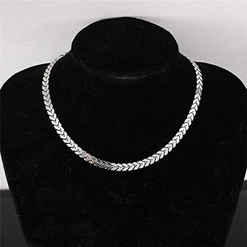 LJFSMM Circle Bright Metal Collar Punk Women Choker Necklace Fashion Short Blade Chain Necklace Torques Jewelry, Silver-Fishbone -