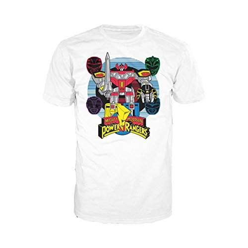 Urban Species Herren T-Shirt Power Rangers Four Heads Megazord, offizielles Produkt, Weiß - Weiß - Groß