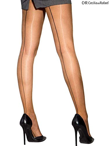 0012f093b Cecilia De Rafael Sevilla Chic Seamed Tights-Natural   Black-S 2
