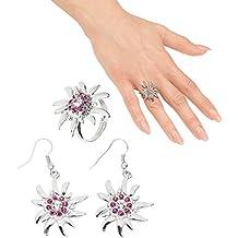Traje joyas set tirolesa joyas Edelweiss Pendientes y Anillo Oktoberfest joyería femenina traje típico de Baviera